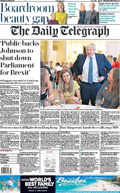 The Daily Telegraph Newspaper Front Page (UK) for 13 August 2019