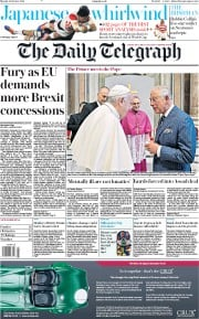 The Daily Telegraph () Newspaper Front Page for 14 October 2019