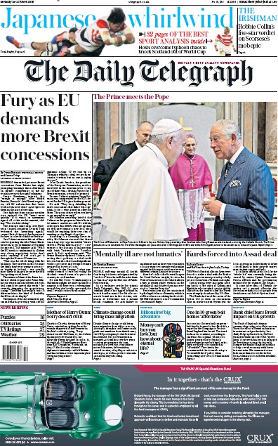 The Daily Telegraph Newspaper Front Page (UK) for 14 October 2019