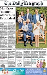 The Daily Telegraph (UK) Newspaper Front Page for 14 November 2018