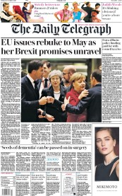 The Daily Telegraph (UK) Newspaper Front Page for 14 December 2018