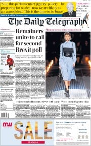 The Daily Telegraph (UK) Newspaper Front Page for 14 January 2019