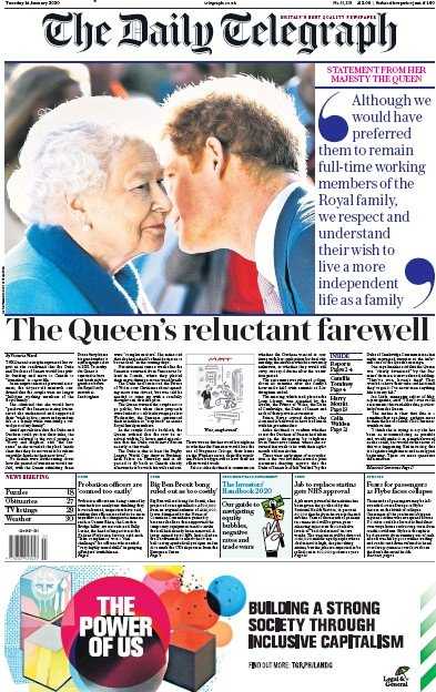 The Daily Telegraph Newspaper Front Page (UK) for 14 January 2020