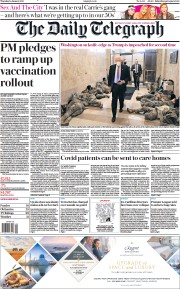 The Daily Telegraph front page for 14 January 2021