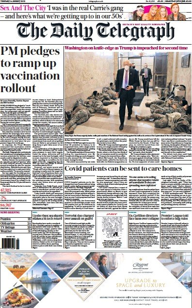 The Daily Telegraph Newspaper Front Page (UK) for 14 January 2021