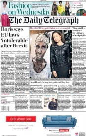 The Daily Telegraph (UK) Newspaper Front Page for 14 February 2018