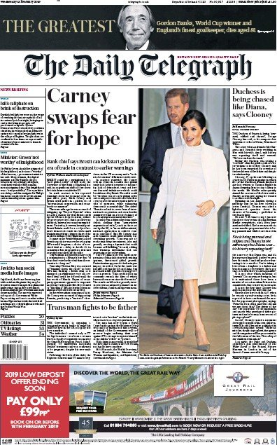 The Daily Telegraph Newspaper Front Page (UK) for 14 February 2019