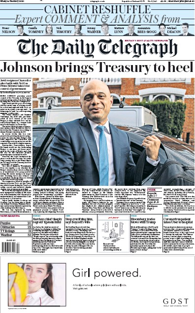 The Daily Telegraph Newspaper Front Page (UK) for 14 February 2020