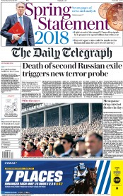 The Daily Telegraph (UK) Newspaper Front Page for 14 March 2018