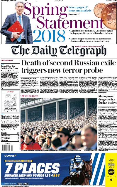 The Daily Telegraph Newspaper Front Page (UK) for 14 March 2018