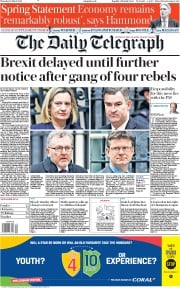 The Daily Telegraph (UK) Newspaper Front Page for 14 March 2019