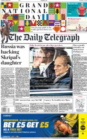 The Daily Telegraph (UK) Newspaper Front Page for 14 April 2018