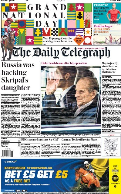 The Daily Telegraph Newspaper Front Page (UK) for 14 April 2018