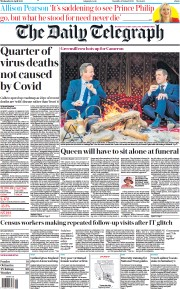 The Daily Telegraph front page for 14 April 2021
