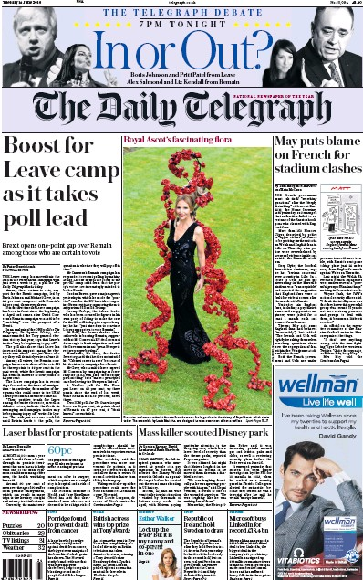 The Daily Telegraph Newspaper Front Page (UK) for 14 June 2016