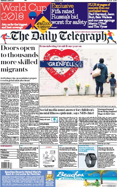 The Daily Telegraph Newspaper Front Page (UK) for 14 June 2018