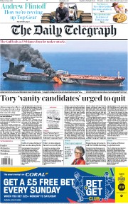 The Daily Telegraph (UK) Newspaper Front Page for 14 June 2019
