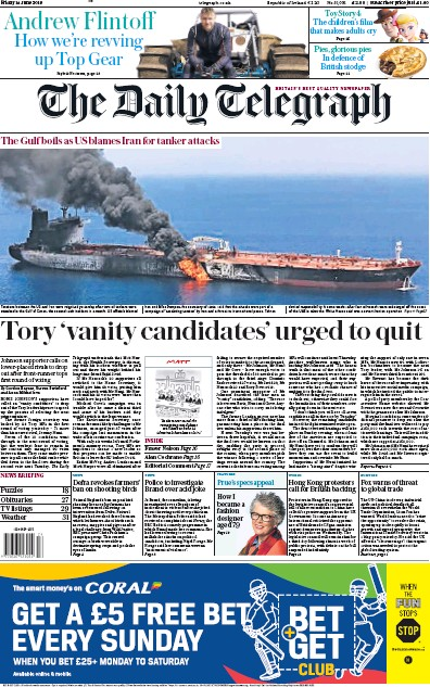 The Daily Telegraph Newspaper Front Page (UK) for 14 June 2019