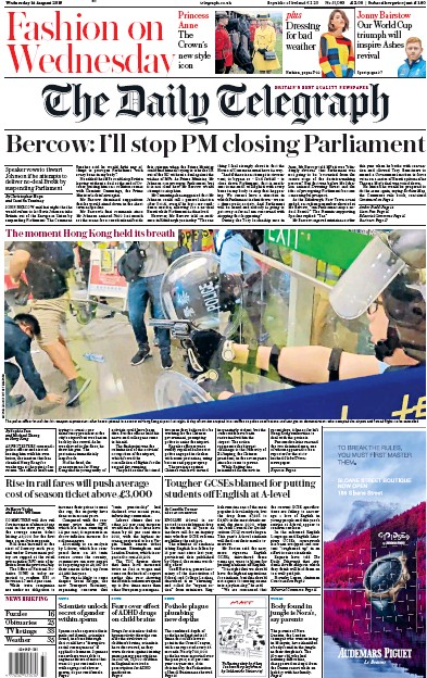 The Daily Telegraph Newspaper Front Page (UK) for 14 August 2019