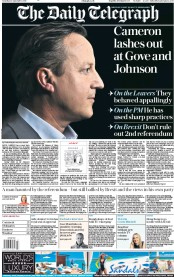 The Daily Telegraph (UK) Newspaper Front Page for 14 September 2019