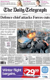 The Daily Telegraph () Newspaper Front Page for 15 November 2012