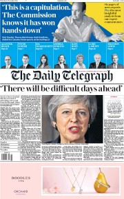 The Daily Telegraph (UK) Newspaper Front Page for 15 November 2018