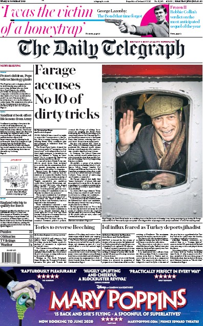 The Daily Telegraph Newspaper Front Page (UK) for 15 November 2019