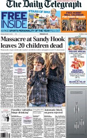 The Daily Telegraph () Newspaper Front Page for 15 December 2012