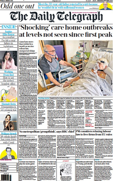 The Daily Telegraph Newspaper Front Page (UK) for 15 January 2021