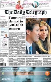 The Daily Telegraph (UK) Newspaper Front Page for 15 February 2017