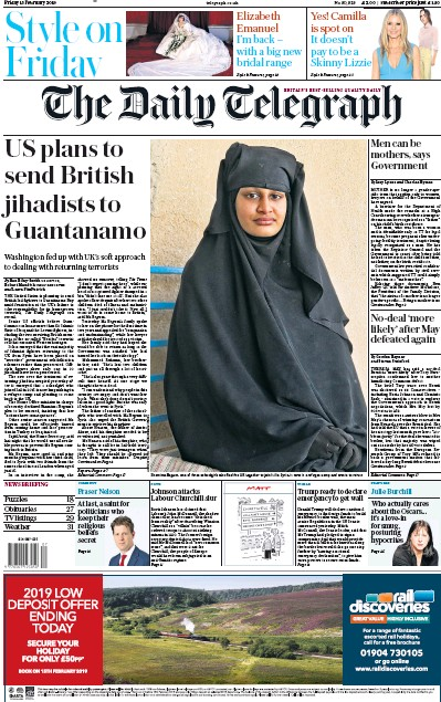The Daily Telegraph Newspaper Front Page (UK) for 15 February 2019