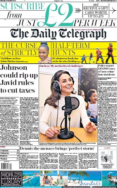 The Daily Telegraph Newspaper Front Page (UK) for 15 February 2020