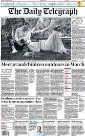 The Daily Telegraph front page for 15 February 2021