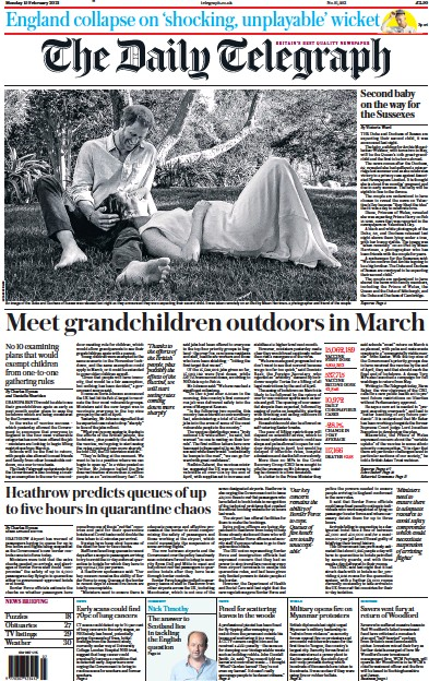 The Daily Telegraph Newspaper Front Page (UK) for 15 February 2021