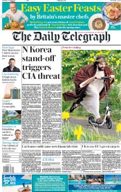 The Daily Telegraph (UK) Newspaper Front Page for 15 April 2017