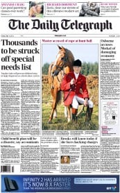 The Daily Telegraph () Newspaper Front Page for 15 May 2012