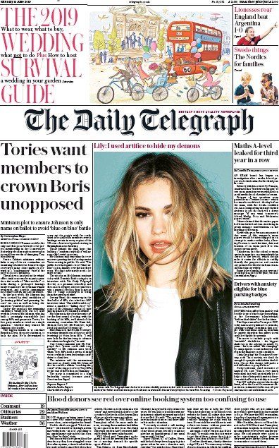 The Daily Telegraph Newspaper Front Page (UK) for 15 June 2019