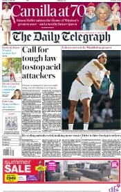 The Daily Telegraph (UK) Newspaper Front Page for 15 July 2017