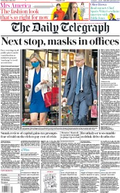 The Daily Telegraph front page for 15 July 2020