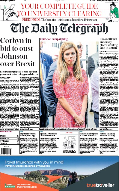 The Daily Telegraph Newspaper Front Page (UK) for 15 August 2019