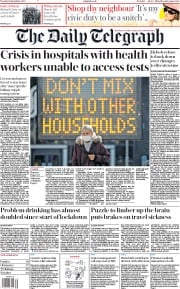The Daily Telegraph front page for 15 September 2020