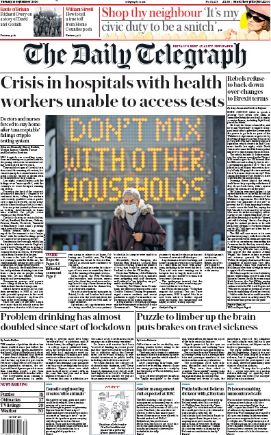 The Daily Telegraph Newspaper Front Page (UK) for 15 September 2020