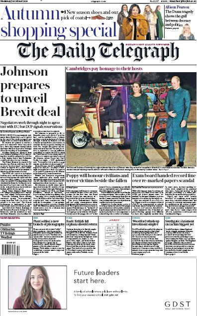 The Daily Telegraph Newspaper Front Page (UK) for 16 October 2019