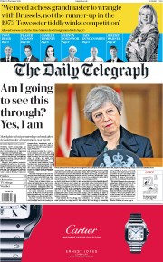 The Daily Telegraph (UK) Newspaper Front Page for 16 November 2018