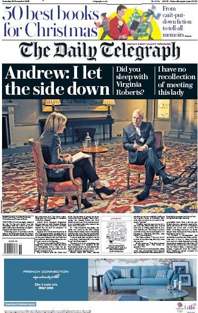 The Daily Telegraph Newspaper Front Page (UK) for 16 November 2019