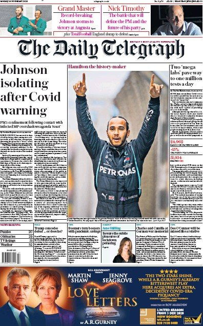The Daily Telegraph Newspaper Front Page (UK) for 16 November 2020