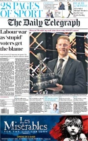 The Daily Telegraph () Newspaper Front Page for 16 December 2019
