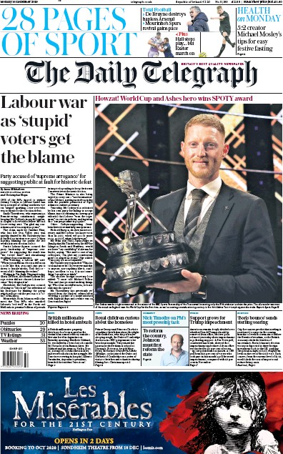 The Daily Telegraph Newspaper Front Page (UK) for 16 December 2019