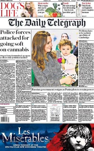 The Daily Telegraph Newspaper Front Page (UK) for 16 January 2020