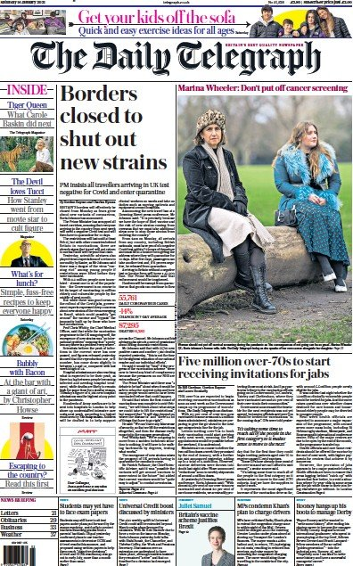 The Daily Telegraph Newspaper Front Page (UK) for 16 January 2021
